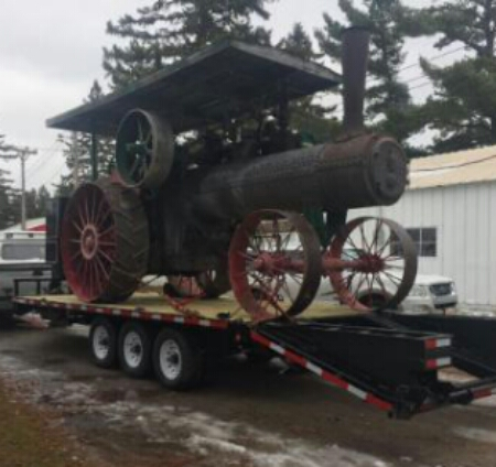 20' x 102' inch deckover three 7K axles spring loaded ramps capable of hauling 9 ton steam engine!